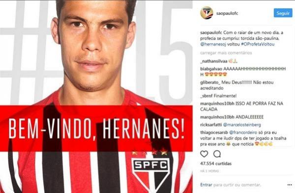 São Paulo anuncia pelas redes sociais o retorno do meia Hernanes