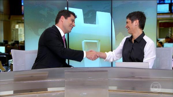 Evaristo Costa e Sandra Annenberg (Foto: Reprodução/TVGlobo)