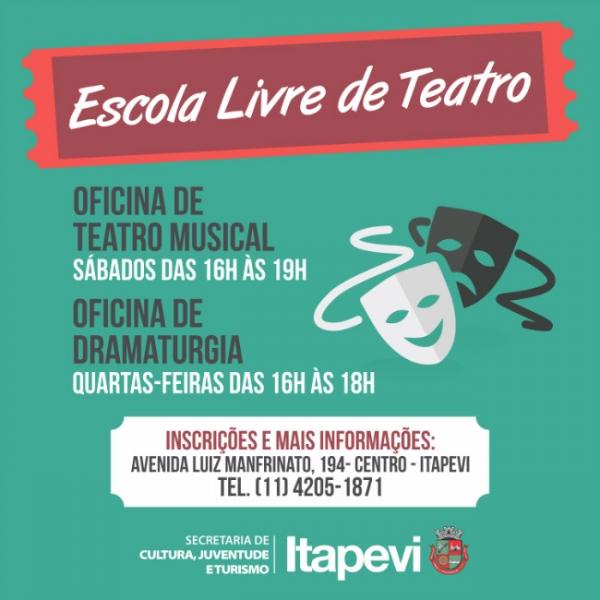 Oficinas de Teatro Musical e Dramaturgia estão com inscrições abertas em Itapevi