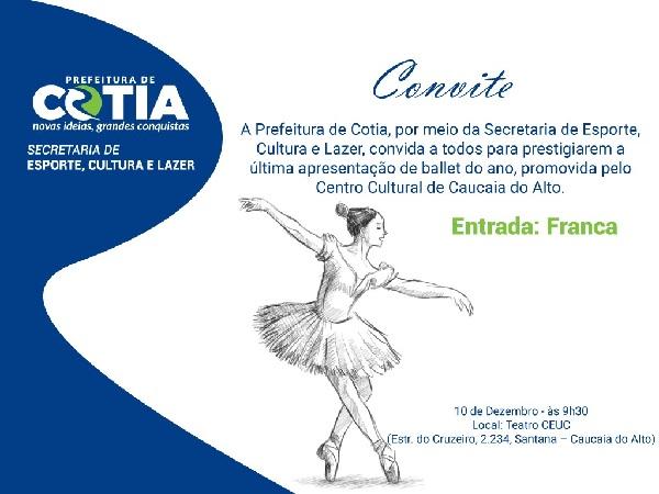 Domingo (10) terá apresentação de Balé no CEUC, em Caucaia do Alto