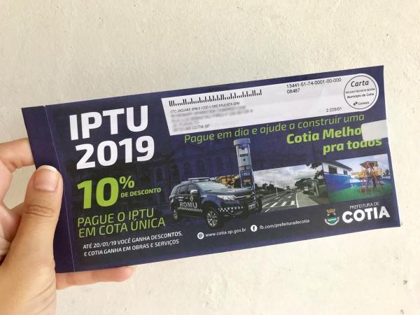 Prefeitura de Cotia alerta que não existem carnês falsos de IPTU 2019