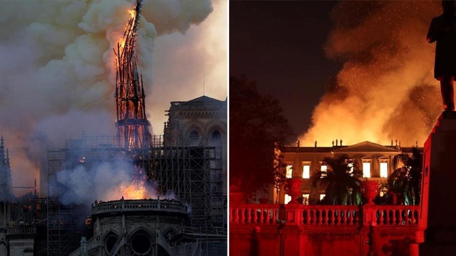 A Catedral de Notre-Dame, em Paris, e o Museu Nacional, no Rio, ambos destruídos pelo fogo