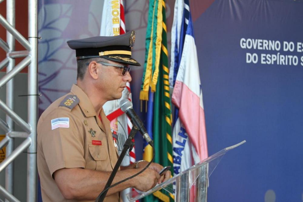Cel Wagner Borges em inauguração de uma unidade do CBMES, no Espírito Santo