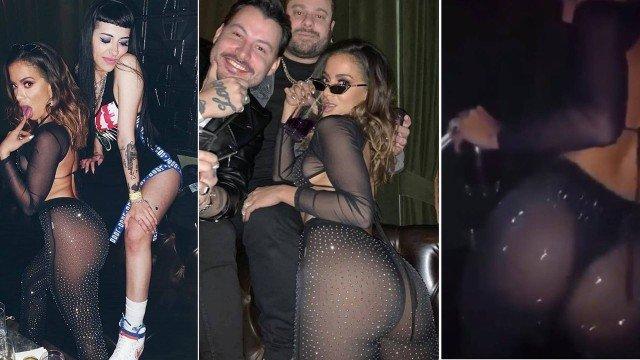Anitta curte balada em Las Vegas e deixa bumbum á mostra com look transparente