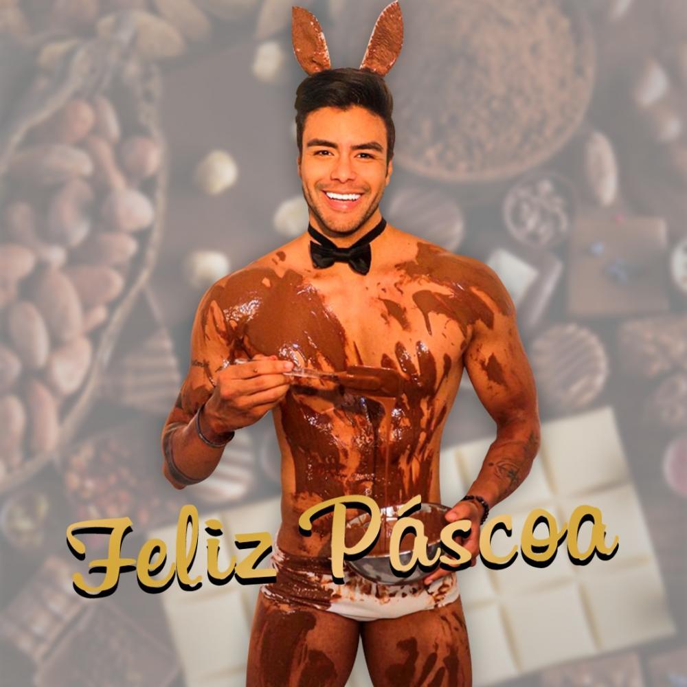 Feliz Páscoa: Mister Brasil Antony Marquez posa com o corpo lambuzado de chocolate